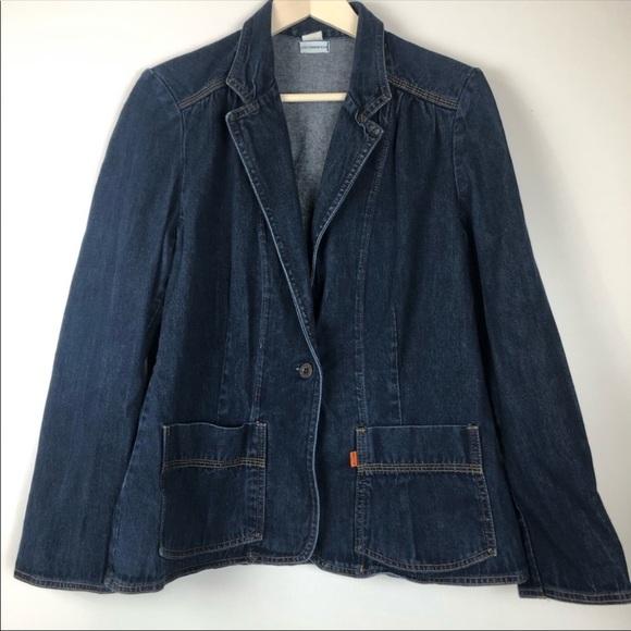 Levi's Denim Blazer Jacket One button Orange Tab S